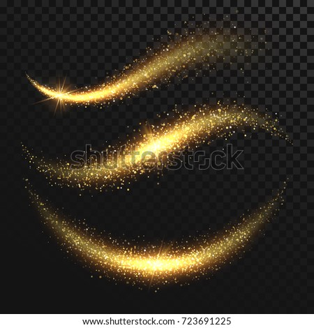 Sparkle stardust. Golden glittering magic vector waves with gold particles isolated on black background. Glitter bright trail, glowing wave shimmer illustration