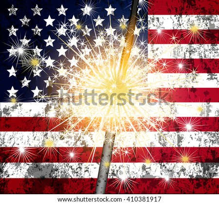 sparkler and us flag