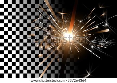 Sparkler close-up on a transparent background