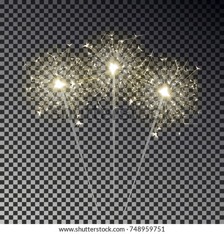 sparkler vector set isolated on