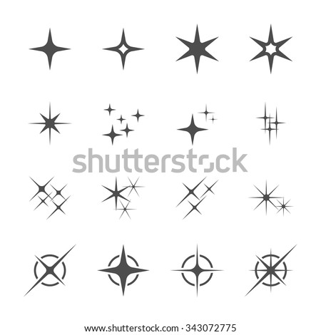 sparkles icon set 6, vector eps10.