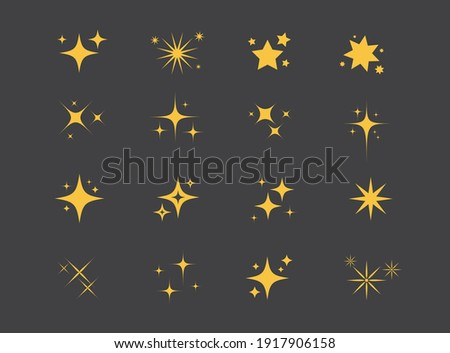 Sparkles Stars on black background. Set of twinkling stars. Stars light effect. Vector illustration