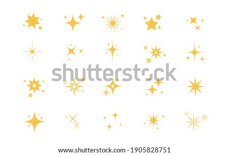 Sparkles Stars on white background. Twinkling stars. Stars light effect. Vector illustration