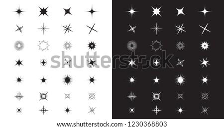 Sparkles Stars sign symbol set. Cute shape collection. Decoration element template. Black and white background. Flat design. Vector illustration