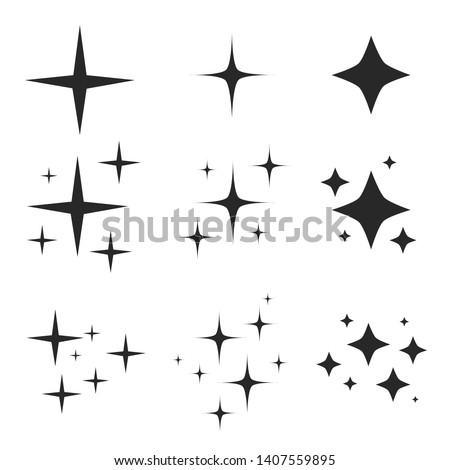 Sparkling black and white symbol vector A set of original sparkling starter icons, a shiny shine, light effect stars,shiny flash,decoration twinkle,Glowing light effect  and bursts collection Vector