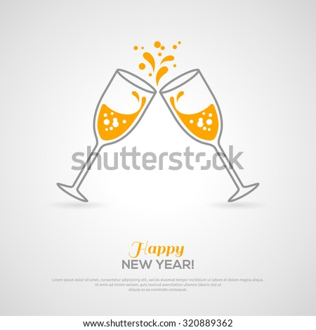 Shutterstock Sparkling champagne glasses. Vector illustration. Minimalistic concept with line style glass and sparkling champagne inside. Place for your text message.