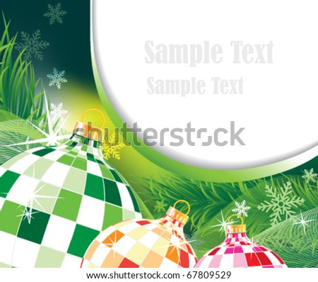 Sparkling Christmas balls on an abstract holiday background