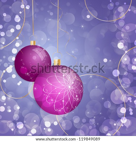 Sparkling Christmas decorations. Vector illustration. - stock vector