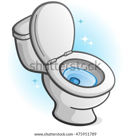 Sparkling Clean Toilet Cartoon Illustration