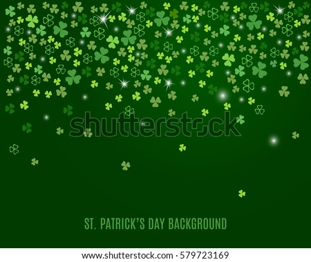Sparkling clover shamrock leaves isolated on dark green background. Abstract St. Patrick's day background for your greeting cards design or website. Vector illustration