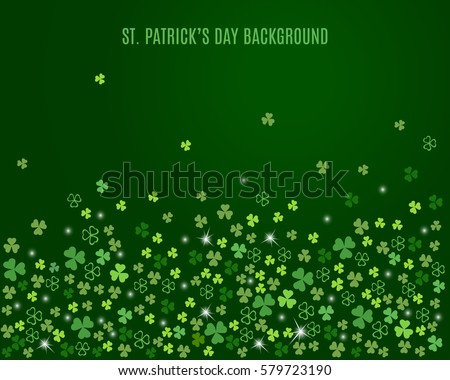 Sparkling clover shamrock leaves isolated on dark green background. Abstract St. Patrick's day background for your greeting cards design or poster. Vector illustration.