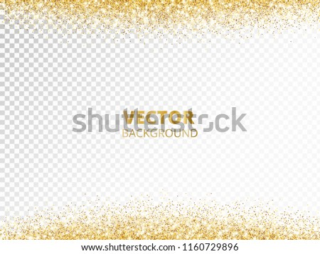 sparkling glitter border frame falling golden dust isolated on transparent background vector gold