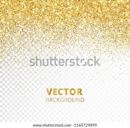 sparkling glitter border frame falling golden dust isolated on transparent background vector gold