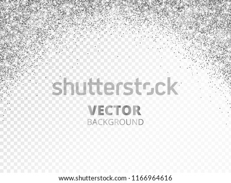 sparkling glitter border frame falling silver dust isolated on transparent vector arch glittering