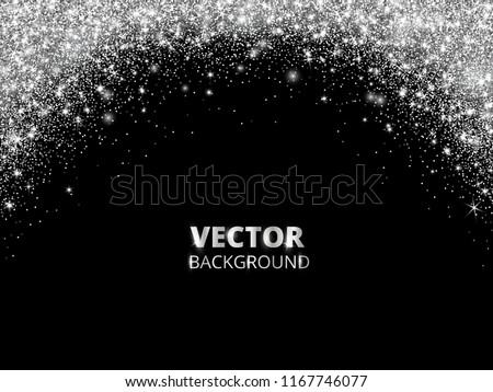 sparkling glitter border frame falling silver dust on black background vector white glittering