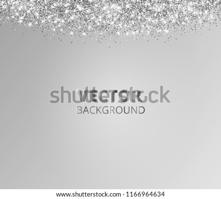 sparkling glitter border frame falling silver dust on gray background vector glittering decoration
