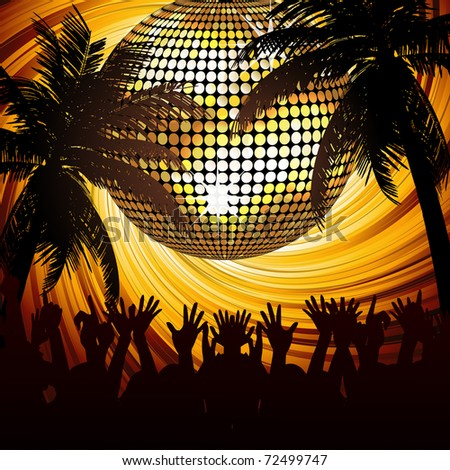Sparkling gold disco ball and crowd in abstract tropical scene with palm trees