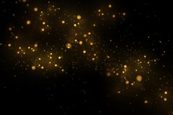 Sparkling gold particles explosion, shiny glittering, golden dust effect abstract background