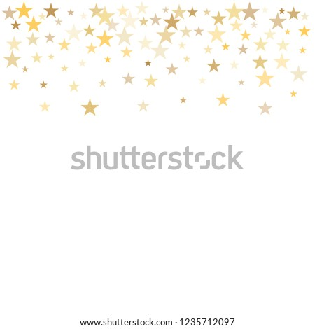 Sparkling gold stars background, golden christmas lights confetti falling.
