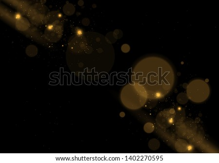 Sparkling golden magic star comet on black background. White sparks and stars glitter special light effect. Cosmic glittering wave. Christmas flash. #1402270595