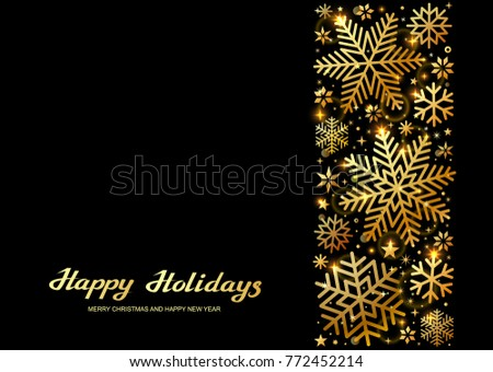 Sparkling golden snowflakes  with glitter texture for Christmas, New Year and Merry Christmas greeting card. Vector black background with isolated winter snowflakes #772452214