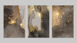 Sparkling grey and gold stone geode pattern. Alcohol ink technique abstract vector background. Modern paint with glitter. Marble texture. Set of templates for banner, poster design. Fluid art painting