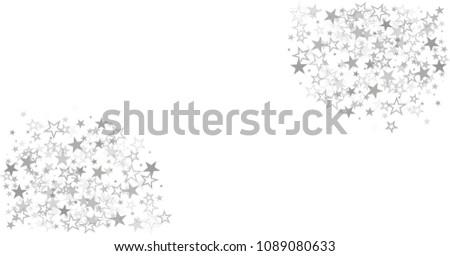 sparkling silver stars vector border background, golden christmas lights confetti falling. magic shining Flying stars on night sky glitter cosmic backdrop, sparkle  #1089080633