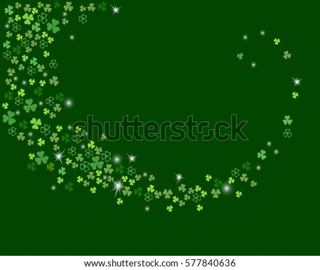 Sparkling stream from clover shamrock leaves isolated on dark green background. Abstract st. Patrick's day background for your greeting cards design. Vector illustration.