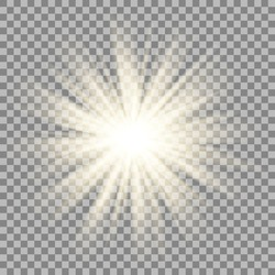 Sparkling sun rays burst with star flare effect on transparent background . Vector.