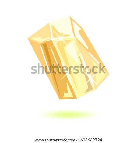 Sparkling transparent topaz. Polished yellow mineral, gemstone for jewellery projects. Can be used like mascot, amulet, talisman, periapt. Imagine de stoc ©