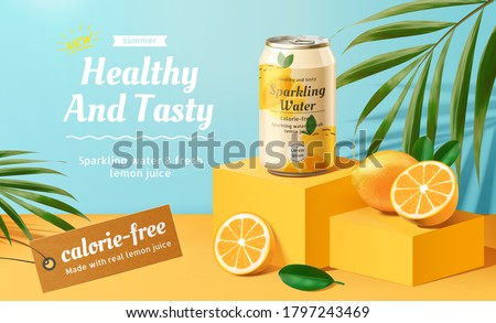 Sparkling water advertisement with lemons and palm leaves elements in 3d illustration