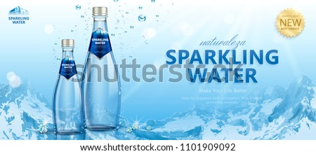 Sparkling water with clear bubbles around the bottles in 3d illustration on snowberg background, Naturaleza is spaninsh word means nature