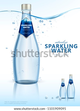 Sparkling water with clear bubbles under the pure water in 3d illustration, beverage poster, Naturaleza is spaninsh word means nature Foto stock ©