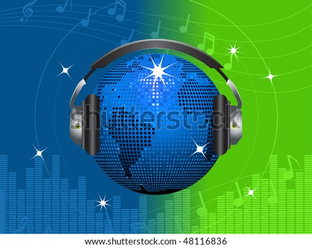 Sparkling world globe disco ball and headphones on a music note background