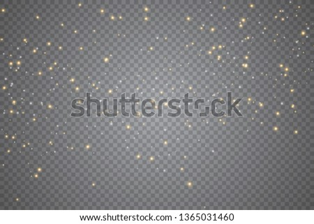 Sparks glitter special light effect. Vector sparkles on transparent background. Sparkling magic dust particles.