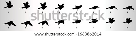 Sparrow flying animation sequence silhouette, loop animation sprite sheet