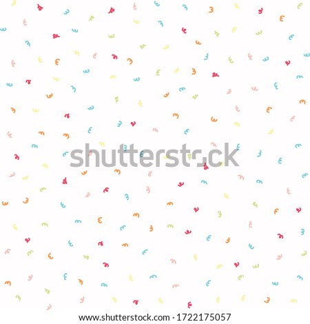 Sparse confetti dotty paper texture seamless background. Tiny colored flecked sprinkles isolated on white. Modern cute falling speckle pattern. Japanese kawaii minimal digital party scrapbook paper