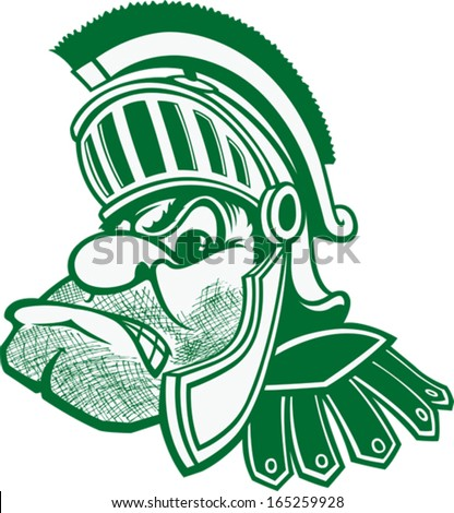 Spartan A cartoon bust of a Spartan with helmet and plume. Vector file.
