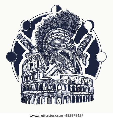 spartan helmet crossed swords