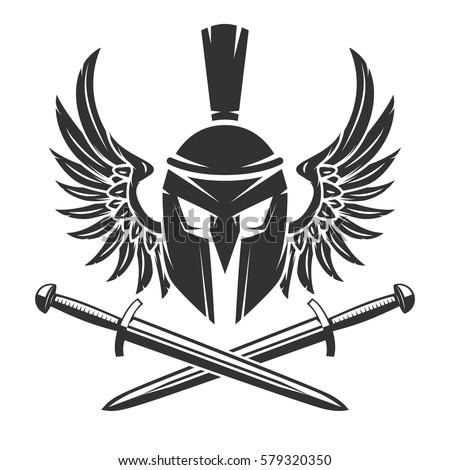 spartan helmet with crossed