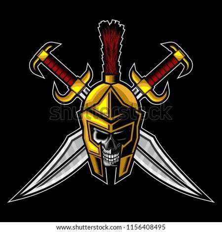 spartan skull greek helmet and