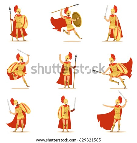Spartan Soldier In Golden Armor And Red Cape Set Of Vector Illustrations With Greek Military Hero In The Fight