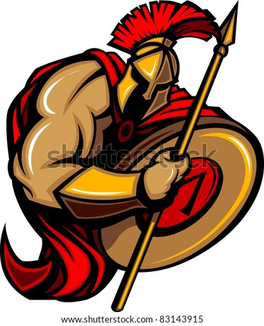 Spartan Trojan Cartoon with Spear and Shield
