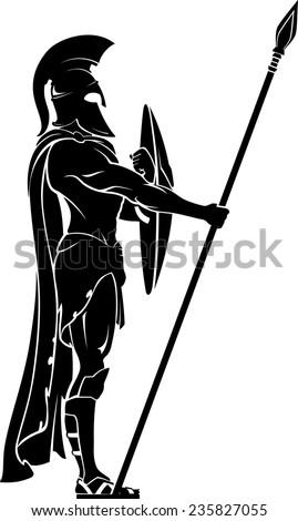 spartan warrior on guard