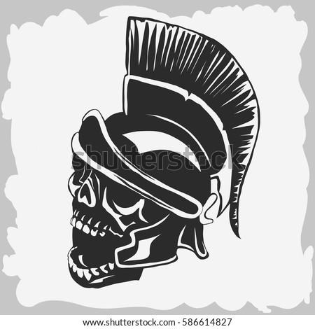 spartan warrior skull in
