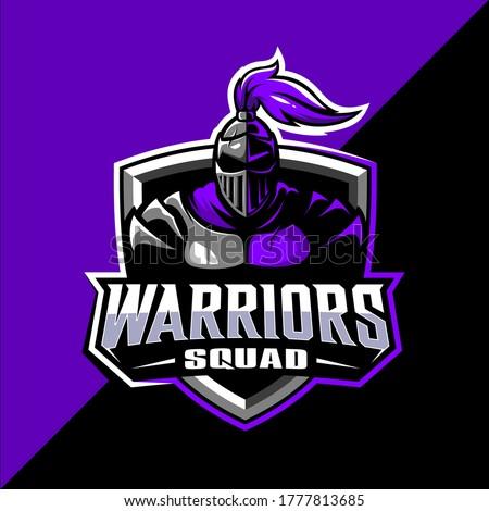 Spartan warrior squad mascot esport logo design vector
