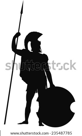 spartan warrior with shield and
