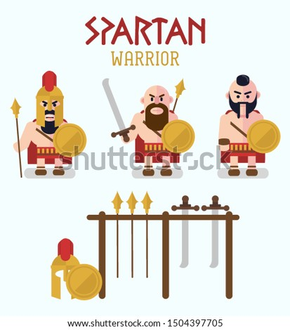 Spartan warriors and equipment vector, warriors set