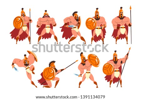 Spartan warriors in golden armor and red cape set, ancient soldiers characters vector Illustrations on a white background