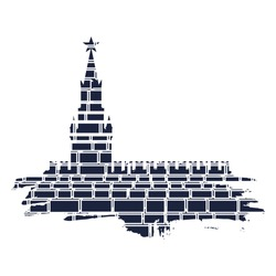 Spasskaya Tower of Kremlin and part of the wall in Moscow. Grunge brush. Ancient brick wall texture